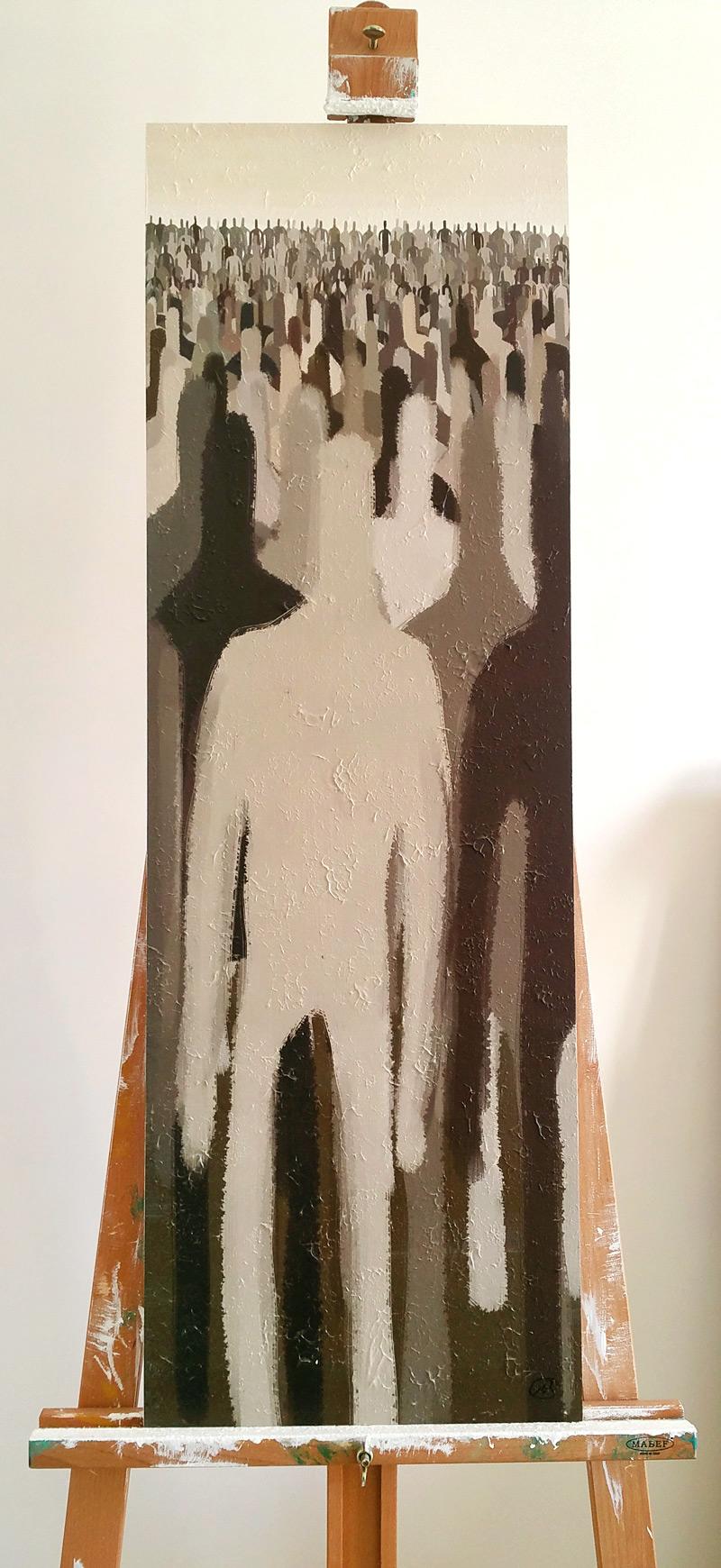 """""""Sulla massa"""", particolare sul cavalletto, 33x100, 2013"""